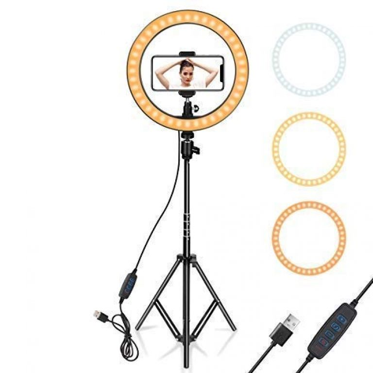 MAKECELL 10 inch Selfie Ring Light with Tripod Stand and Phone Holder, 10 inch Dimmable LED Camera Ring Light with 3 Colors Light Mode Brightness Level for YouTube Video/Live Stream/Makeup