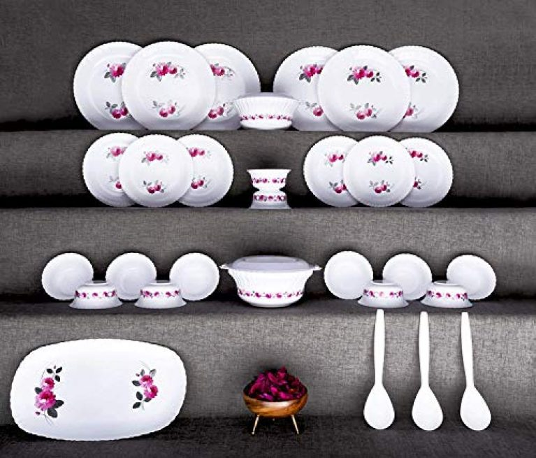 MISHTI Unbreakable Dinner Set Gift Item Plastic Light Weight of 32 pcs Exclusive and Microwave Safe, Printed Round Flourish Pieces Safe Print (Multi Color)
