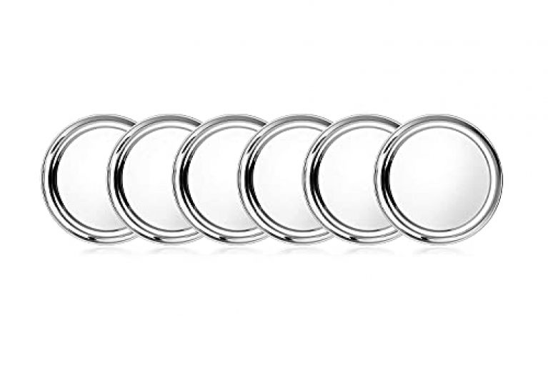 Magrido Heavy Guage Stainless Steel Half Plates for Dinner – Set of 6