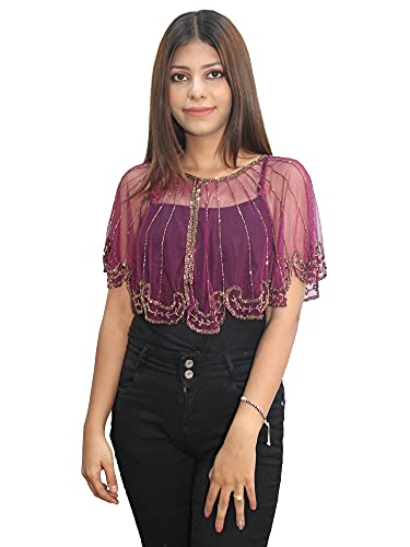 Matelco Women s Net Poncho/Cape with Embroidery