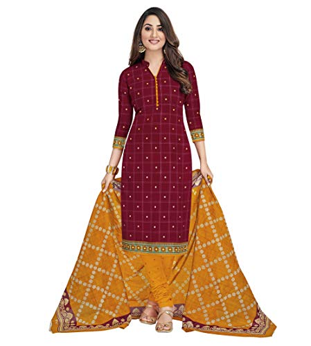 Miraan Women's Cotton Unstitched Dress Material (SGPRI1804, Brown, Free Size)