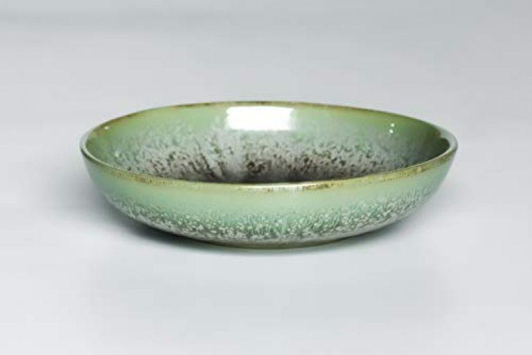Mrid Cera Studio Pottery Tableware Hand Glazed Ceramic Pasta Bowl Salad Bowl 1 PC (500 ml Green)