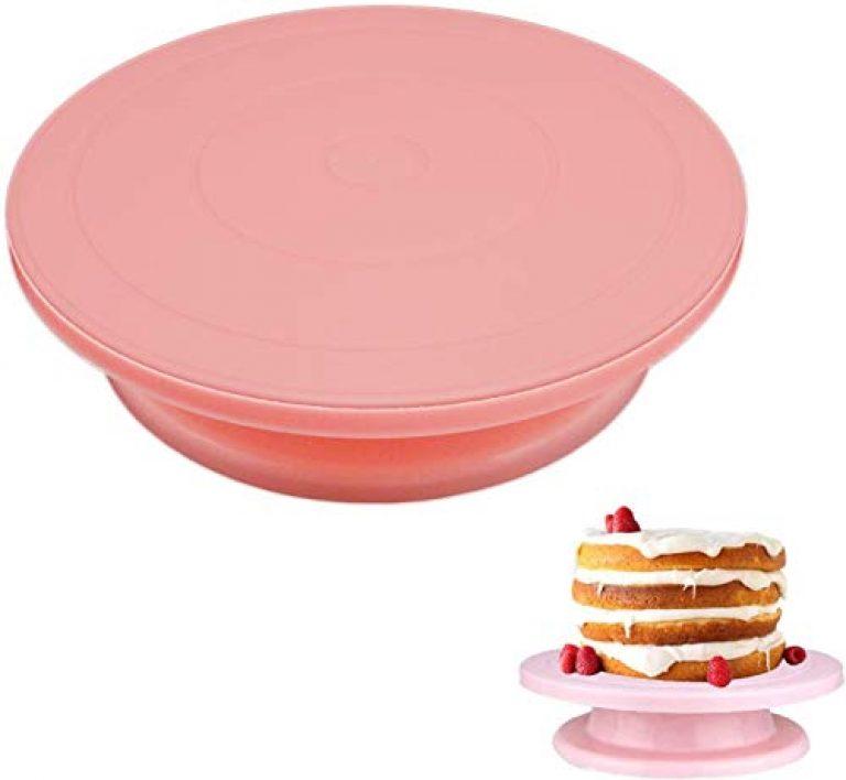Mukhivala DIY Pan Baking Tool Plastic Cake Plate Turntable Rotating Anti-Skid Round Cake Stand Cake Decorating Rotary Table Kitchen (Pink)