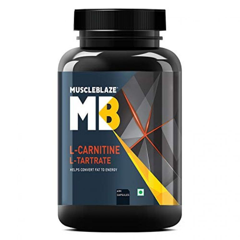 MuscleBlaze L-Carnitine L-Tartrate, Helps Convert Fat into Energy (Unflavoured, 60 Capsules)