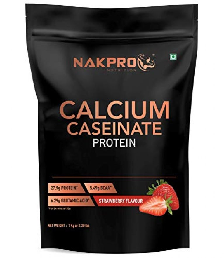 NAKPRO CALCIUM CASEINATE | Slow-Digesting Casein Protein Powder 27.9g Protein, 5.4g BCAA & 6.2g Glutamine for Muscle Growth & Recovery 1 kg Strawberry