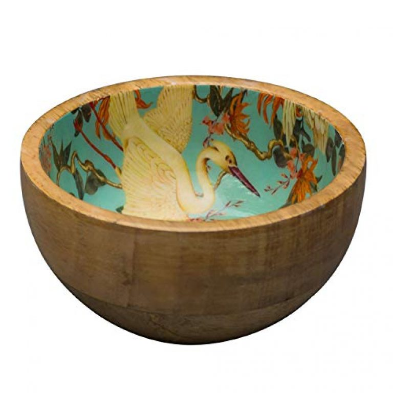 Nestroots Bowl Set for Snacks Mixing Bowls for Kitchen | Salad Bowl Printed Wooden Desert Bowl for Serving Mixing Bowl Mango Wood with Decaling Print | Green Flamingo 6 inches Diameter