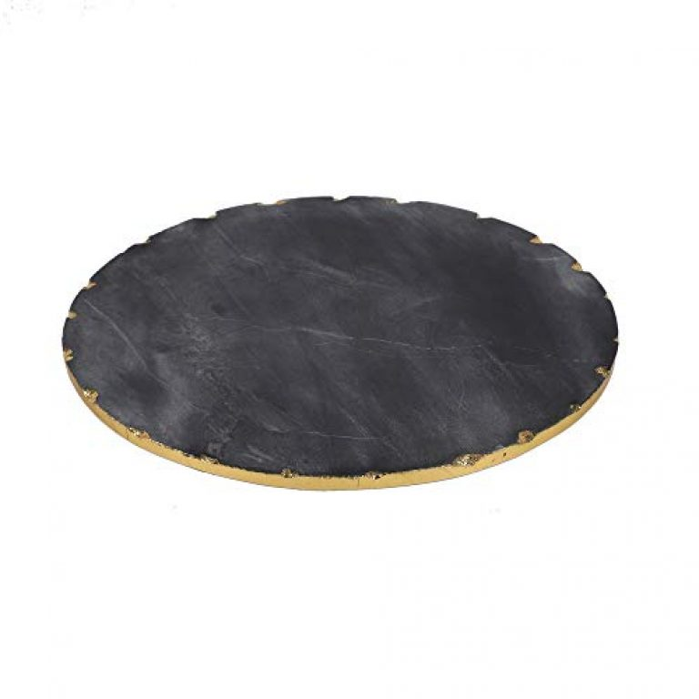 NikkisPride Handmade Black Marble Cheese Platter Serving Tray with Gold Foil on Borders 10 Inch Dia
