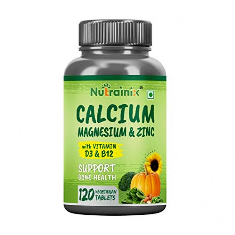 Nutrainix Calcium tablets for Women & Men, with Magnesium, Zinc, Vitamin D3, B12 for Complete Bone Health & Joint Support Supplements, 120 Calcium tablets