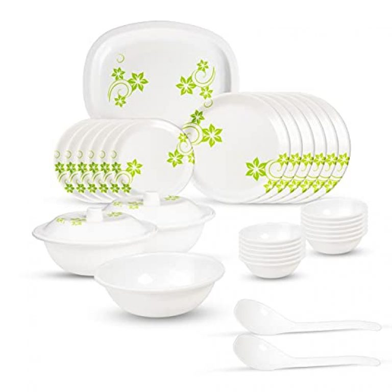 OM CREATION Unbreakable Plastic Light Weight Dinner Set of 32 pcs 6 Full Plates, 6 Quarter Plates,12 Veg Bowls, 2 Donga Base, 1 Open Donga, 2 Dongal Lids, 2 Serving Spoons, 1 Rice Plate