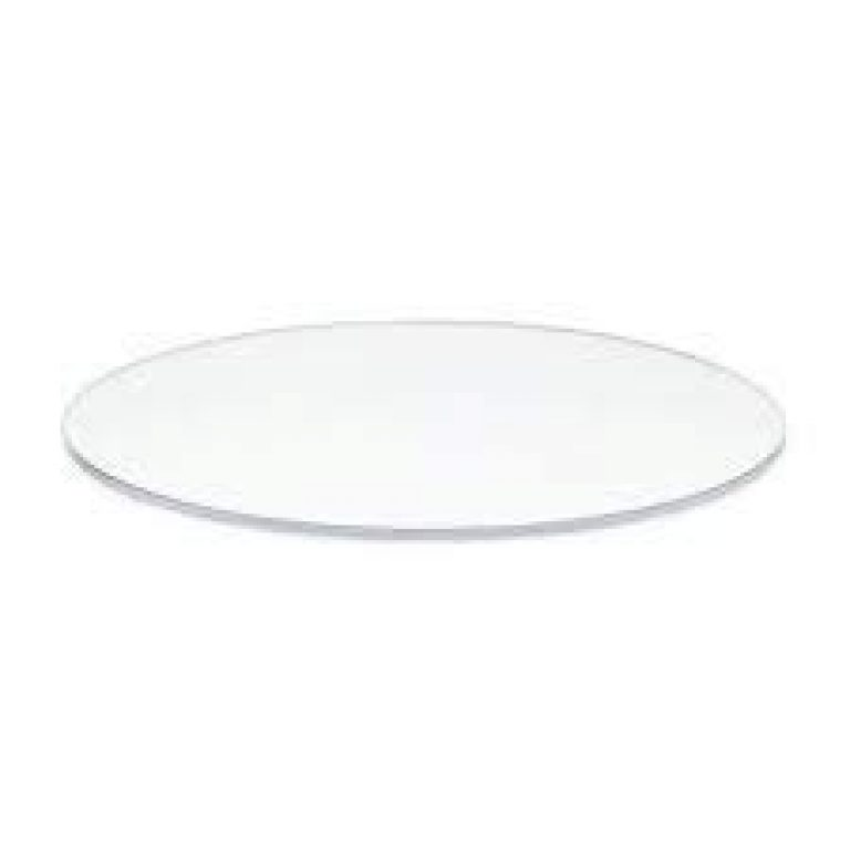 OM KRAFT 10 Inch Round Clear Acrylic Cake Board Ganaching Plate (White, 3 mm Thickness)