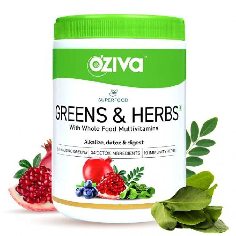 OZiva Superfood Greens & Herbs (Supergreens Powder with Alkalizing Greens & Herbs like Chollera, Spirulina, Amla,Triphala), for Better Digestion, Detox & Skin, 250g