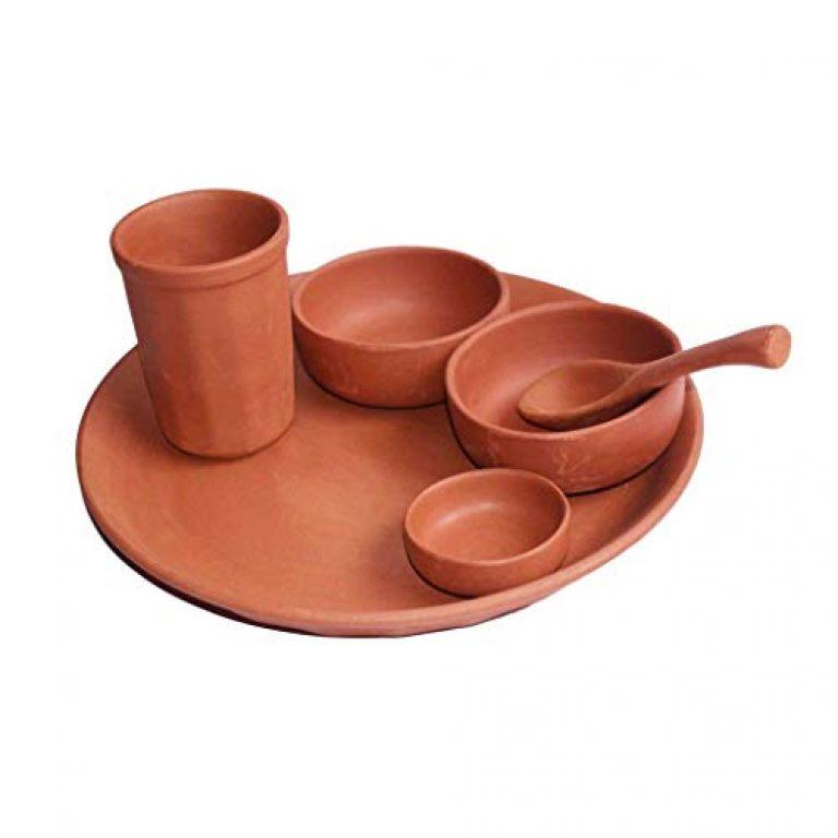 Organic Clay Crafts Terracotta Handmade Dinner Thali Set (Brown)