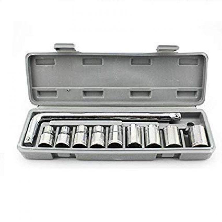 PJT™ High Grade 10Pcs L handle Socket Spannar Set with Carry Box for Automobiles/Bike/Car Repair Tools Kit Pcs Set, Repair Tool Box, Precision Sleeve Wrench Combination Hand Tool Socket Set (Grey, 10-Pieces)