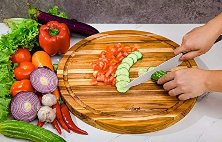 Pink pari Large Round Wood Cutting Board Round Serving Chopping Board, Kitchen Accessories Cheese Charioteer Pizza Serving Tray Cold Cut Platter.