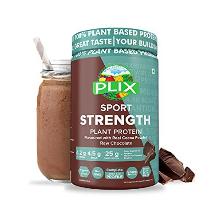 Plix Strength Vegan Post Workout Plant Protein, Chocolate Flavour, Antioxidants, Digestive Enzymes, 25 Grams Plant Protein (1KG, 30 Servings)