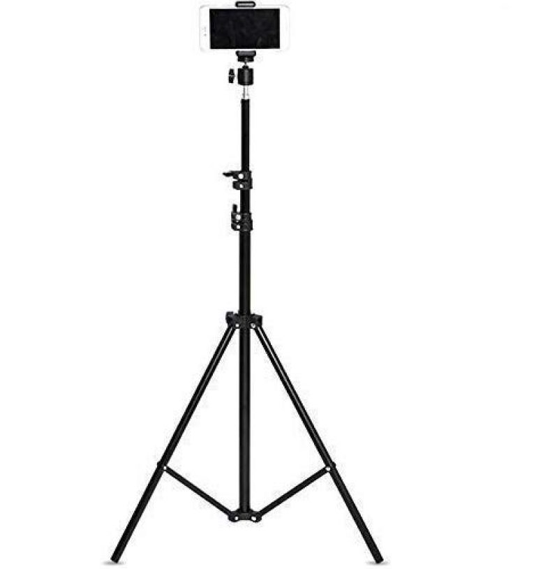 Praxan TRD11 7 Feet Long Tripod Stand for Self Video Shoot DSLR Camera You-tubers Video Shooting Studio Etc.Compatible with All Smartphones & Tablets Color