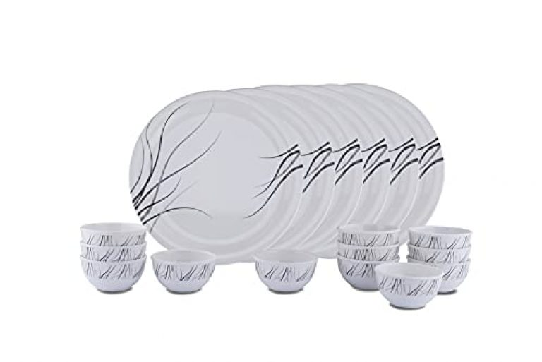 Primelife Dinner Set Melamine Dishwasher Safe Dinnerware Set 6 Plates and 12 Bowls Set, 18-Piece Dishes and Bowls Set – Made in India (18 Pcs F Black)