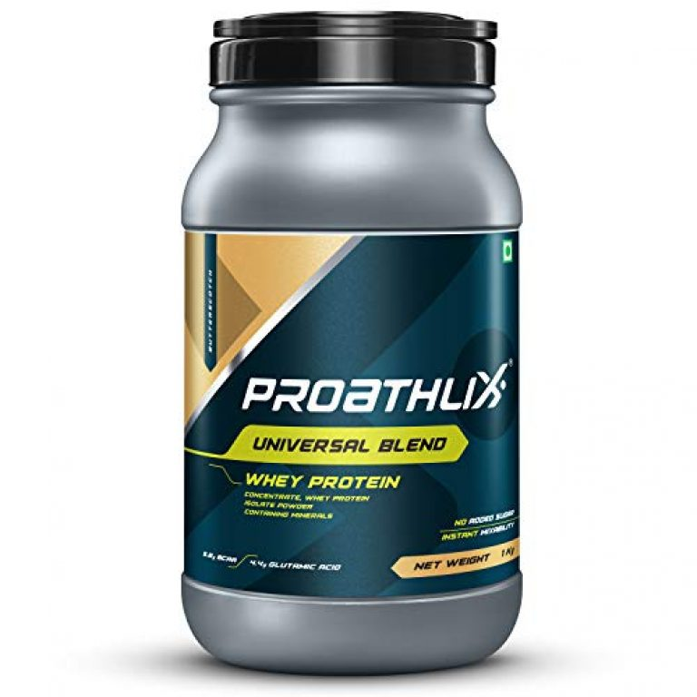 Proathlix Universal Blend Whey Protein Powder With Digestive Enzymes, 1 kg / 2.2 lbs (Butterscotch)