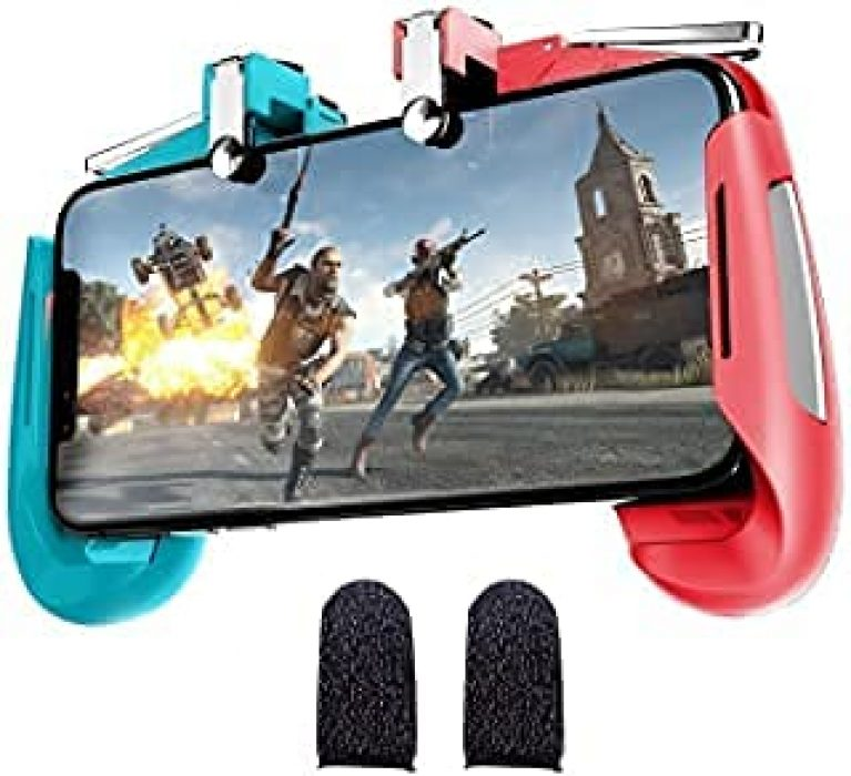 Pubg Joystick triggers for Mobile Gamepad Controller Gaming Trigger for Free fire (1Pair Sleeves+ 1 Gaming pad)(Multi)