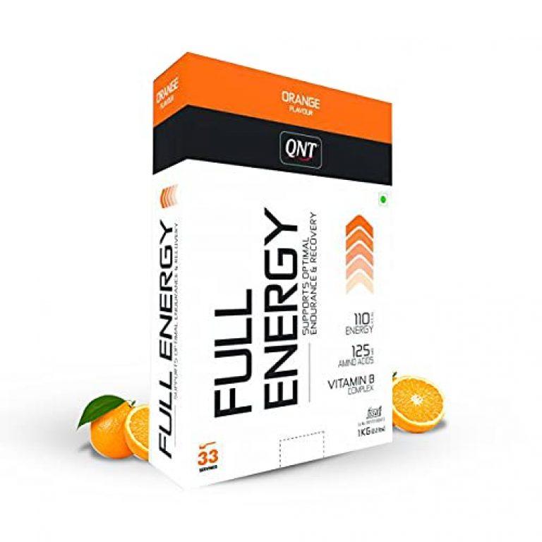 QNT Full Energy, Optimal Endurance & Recovery, 1kg, Orange, 33 Servings (110 kcal Energy, 125mg Amino Acids, Vitamin B Complex)