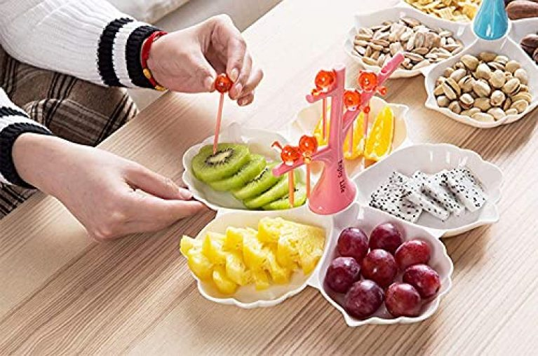 REMANG Chip & Dip Serving Tray, Cuckoo Dessert Fork Divided Fruit Melon Tray Candy Dish Branch Partition Plastic Plate Seeds Serving Platter Set Perfect for Snack