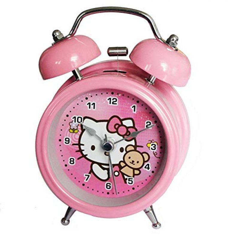 RIANZ Metal Table/Desk Twin Bell Alarm Clock with Light for Kids – (Pink, Small )