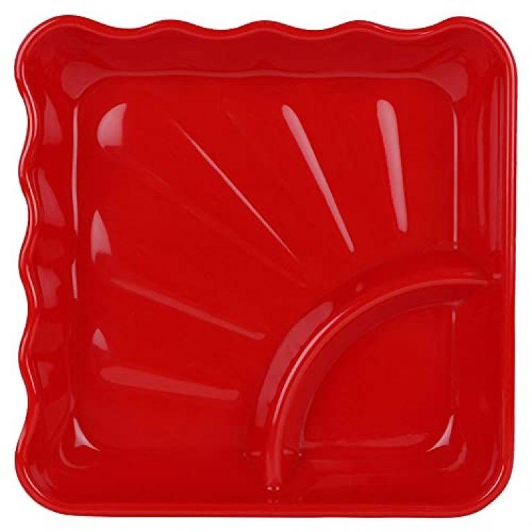 RUKUZ Melamine Square Shape Plates/Food Dish/ Lunch-Rice Thali/Salad Plate / Children Chat Nasta Plate /Snack/ Restaurants Mukwas Plate (Pack Of 9, Red)
