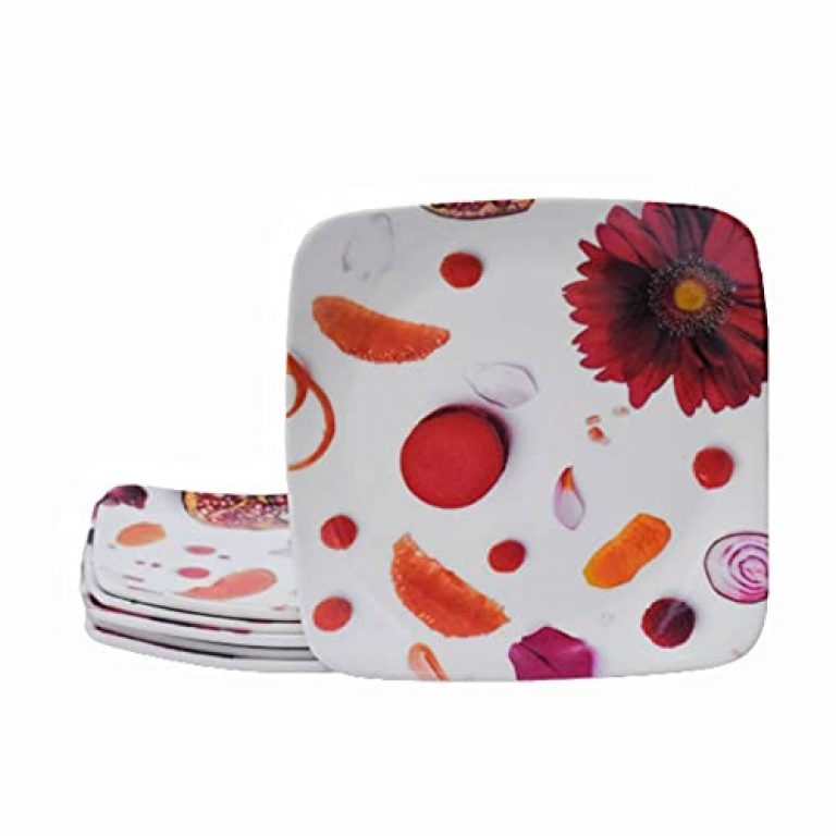 Recon® Champ Red Flower, Dessert Plate, Cute Snack Plate for Ice Cream, Fruit Serving Plate, Side Dishes, Condiment, Microwave & Dishwasher Safe, Set of 6