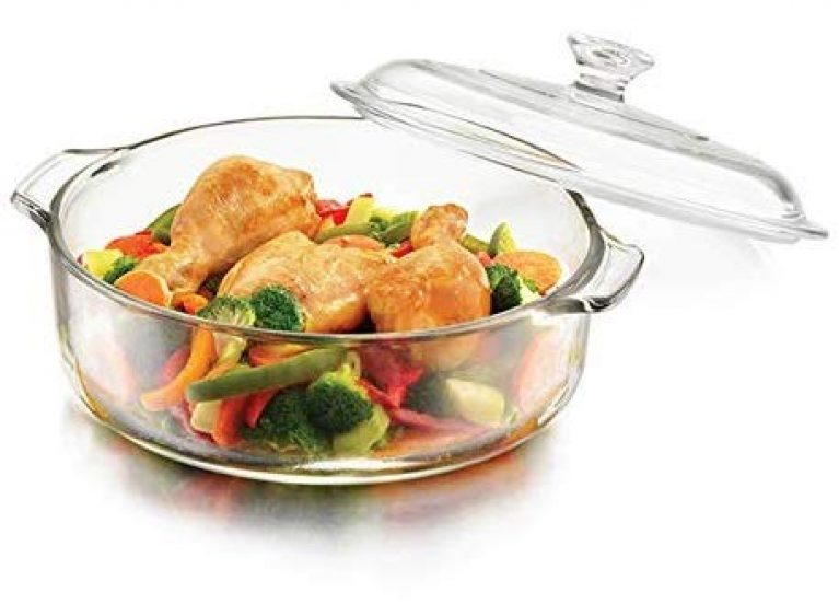 Rectitude® – Glass Casserole Round – Oven and Microwave Safe Serving Bowl with Glass Lid 1000 ml (Without Plastic) (1)