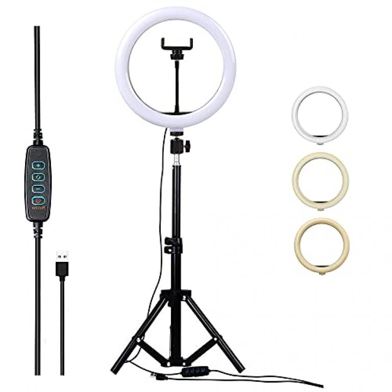 Right Plus 10″ LED Ring Light with Tripod Stand for YouTube Photo-Shoot Video Shoot Live Stream | Instagram | Selfie | Photography | vlogging | Makeup | iPhone | Android Mobile & Camera