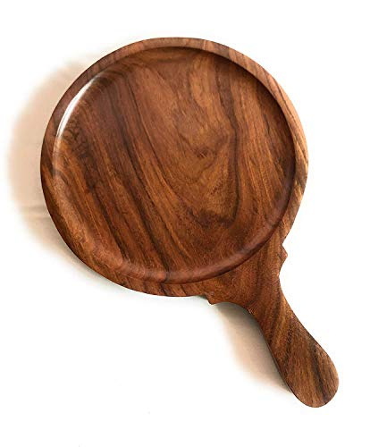 Rollyware Wooden Pizza Plate/Board/Racket, Round, Slim, 10 Inch, Brown (8 Inch)