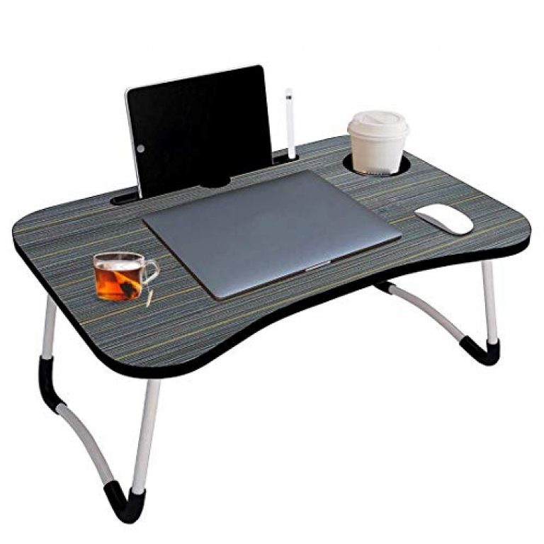 Rpvum Laptop Table Foldable Portable Adjustable Multifunction Study Lapdesk Table for Breakfast Bed Tray Office Work Gaming Watching Movie on Bed/Couch/Sofa/Floor with Cup Slot (Black)