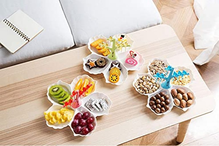 Rudra EXIMS Chip & Dip Serving Tray, Cuckoo Dessert Fork Divided Fruit Melon Tray Candy Dish Branch Partition Plastic Plate Seeds Serving Platter Set Perfect for Snack (Multicolor)