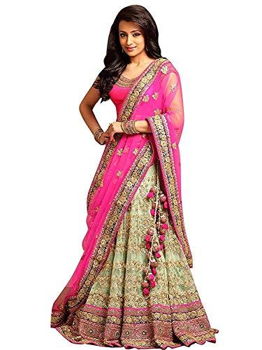 Rudra Fashion Women's Silk Semi stitched Lehenga Choli (MP-8525_Pink_Free Size)