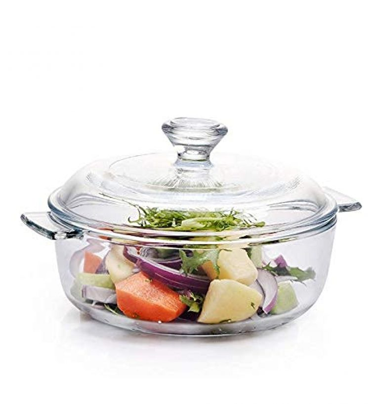 SALE BIRD Microwave Oven Safe Classic Deep Round Serving Glass Casserole Bowl Set with Glass Lid (750 ml, Transparent)