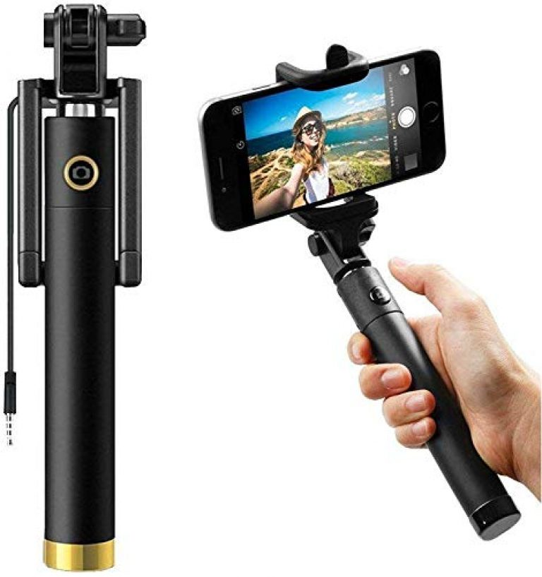 SHAPING HUB Wired Monopod Extendable Selfie Stick with AUX Wire Built-in Remote Pocket Size Sefie Stick for All Smartphones – (Colour – Black)