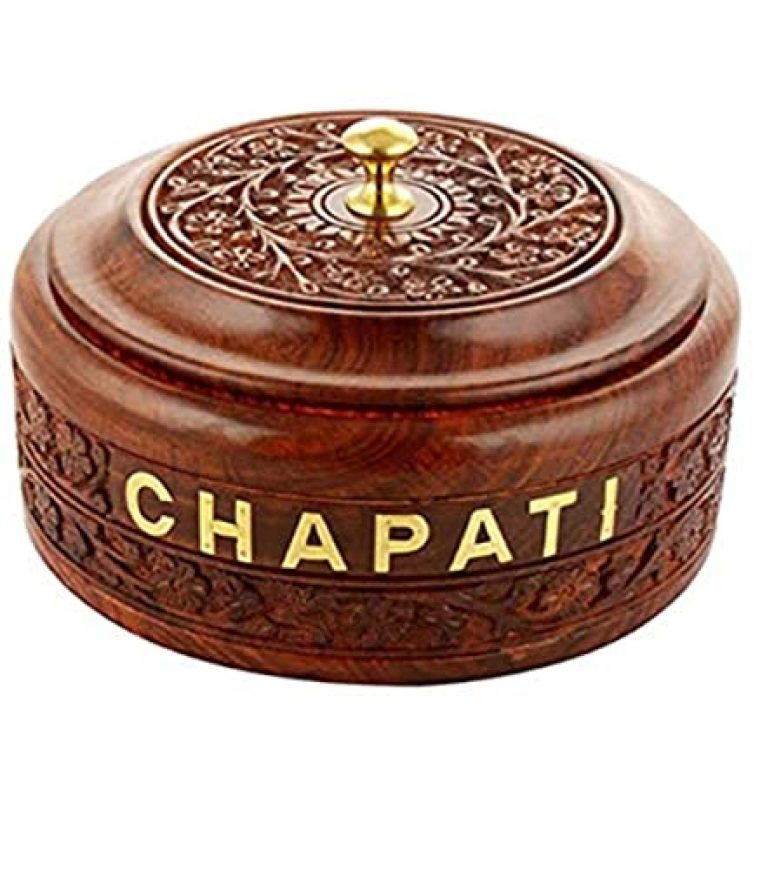 SI Creation Handmade Wooden Chapati Box Roti Box Bread Serving Bowl for Chapati | Sheesham Wood & Stainless Steel Serving Casserole for Chapati Best Gift Box for Home/Kitchen (8 inches, Brown