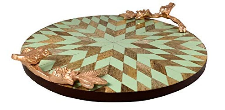 Safina Wooden Circular Round Tray Patch Work Solid Wood with Metal Gold Handle | Heavens Craft