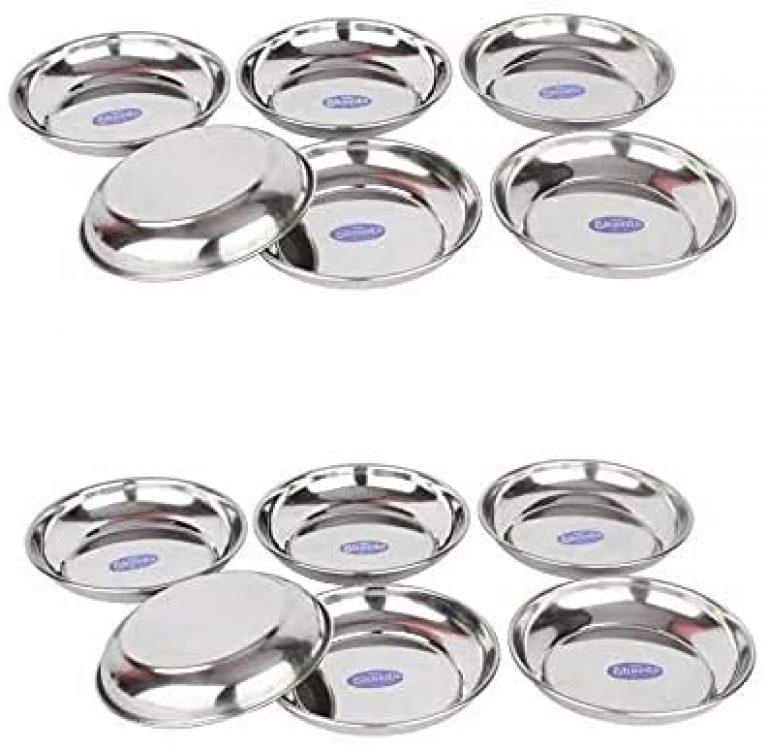 Sharda Metals Stainless Steel Set of 12 Side Serving Fruit Dessert Plates.
