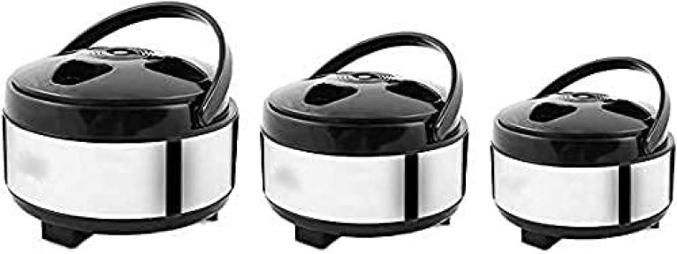 Shop-Buy Stainless Steel Thermo Ware Casserole & Tureens Double Wall Insulated Hot Pot for hot Meal  chapatti  Curry  roti Set of 3, 1.5L & 2L & 2.5L