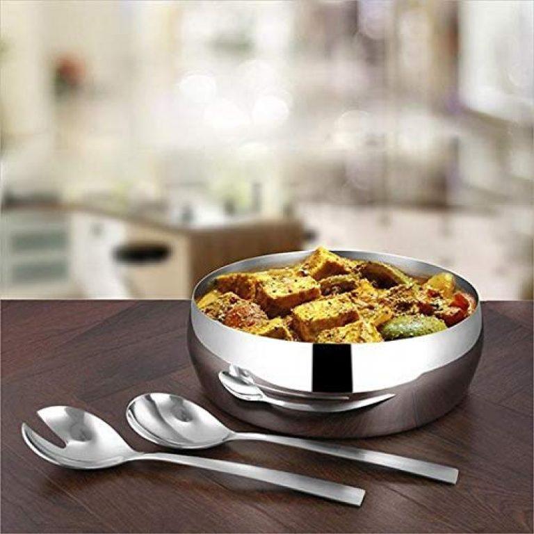 Shri & Sam High Grade Stainless Steel 3 Pcs Salad Bowl for Salad Serving,2 PCS Serving Spoon and 1 PC Salad Bowl 22 cm