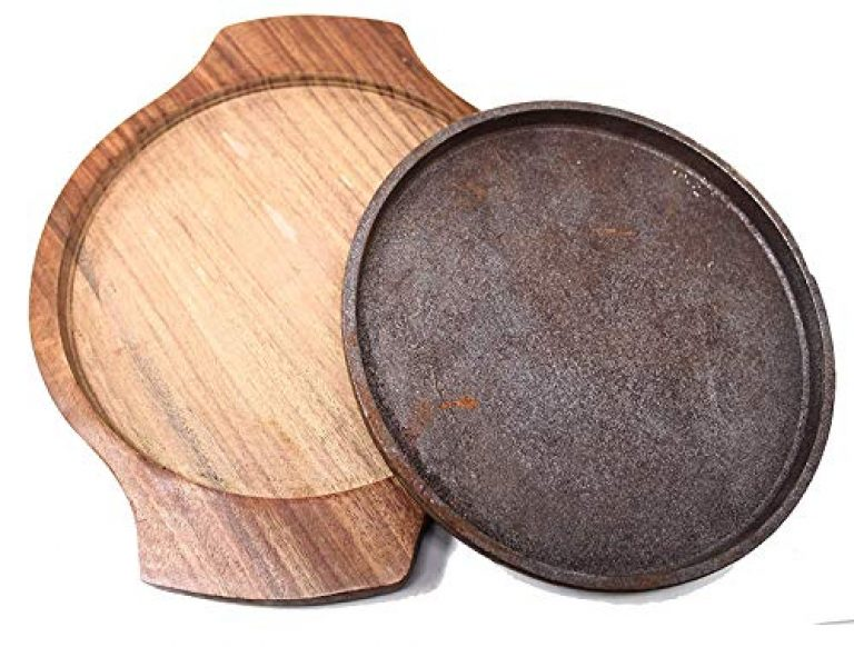 Sizzler Plate with Wooden Base, Cast Iron Sizzler, Round, 8 INCH