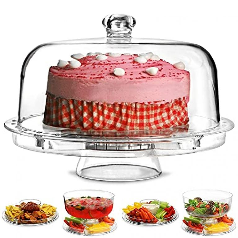 Slings 6 in 1 Cake Stand with Dome Lid -Serving Tray and Cake Plate | Salad Bowl |Veggie | Desert Platter | Nachos & Salsa Serving Plate