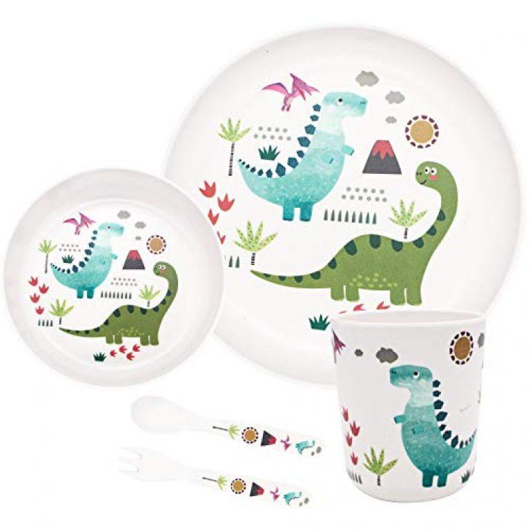 St Stehlen 100% Melamine Dinosaur Design Kids Set, 5-Pieces (1 x Plate, 1 x Bowl, 1 x Glass, 1 x Spoon, 1 x Fork) – Dinosaur Design, White