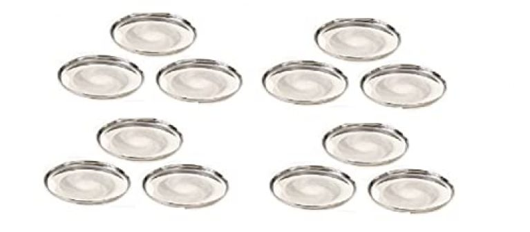 Stainless Steel 22G Diamond Plates(Size-12) Silver, Set of 12