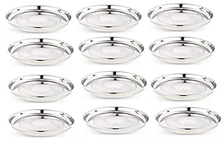 Stainless Steel 22G Gold Diamond Thali MK,Dinner Plates Set of 12 ( Size-13)