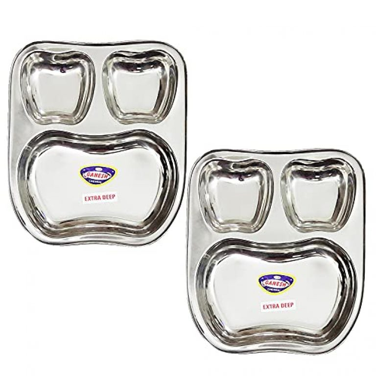 StarLinks®Stainless Steel Apple Shape Plate – 3Partition Baby Lunch Dinner Bhojan Thali (Extra Deep) Plates- Length:10″ (26cm) Width: 9″(22.5cm) Ht:1.25″(3cm) Approx.Wt: 600gm – 2 pcs/G/300g/3p