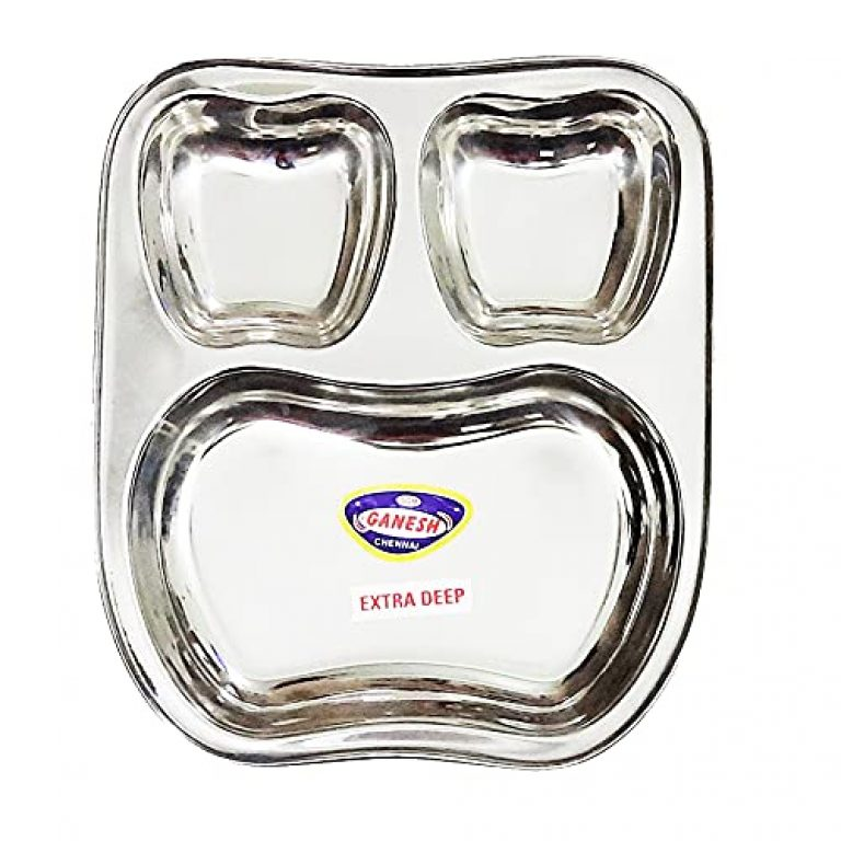 StarLinks®Stainless Steel Plate – 3Partition Baby Apple Lunch Dinner Bhojan Thali Extra Deep Plates – 1 pcs- Length:10″ (25.5cm) Width: 9″(22.5cm) Ht:1.25″(3cm) Approx.Wt: 300gm /G/sqA/3p