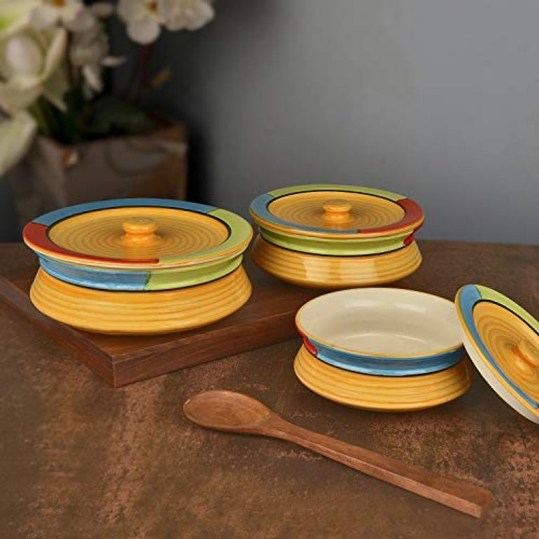 StyleMyWay Hand Painted Ceramic Handi with Lid (Set of 3, Yellow)   Dinner Serving Bowls   Biryani Handis   Serving Pots