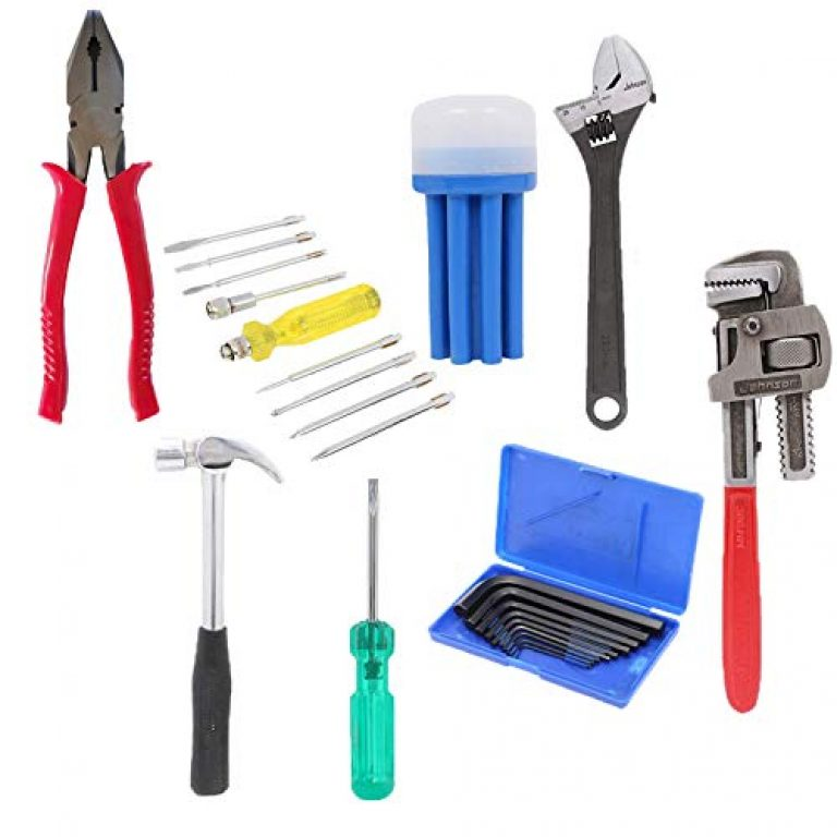 Suzec Johnson Professional Home Kit with Combination Plier, Screwdriver Set, Adjustable Wrench (200 mm), Claw Hammer, Two in One Screw Driver, Allen Key Set & Pipe Wrench (250mm)
